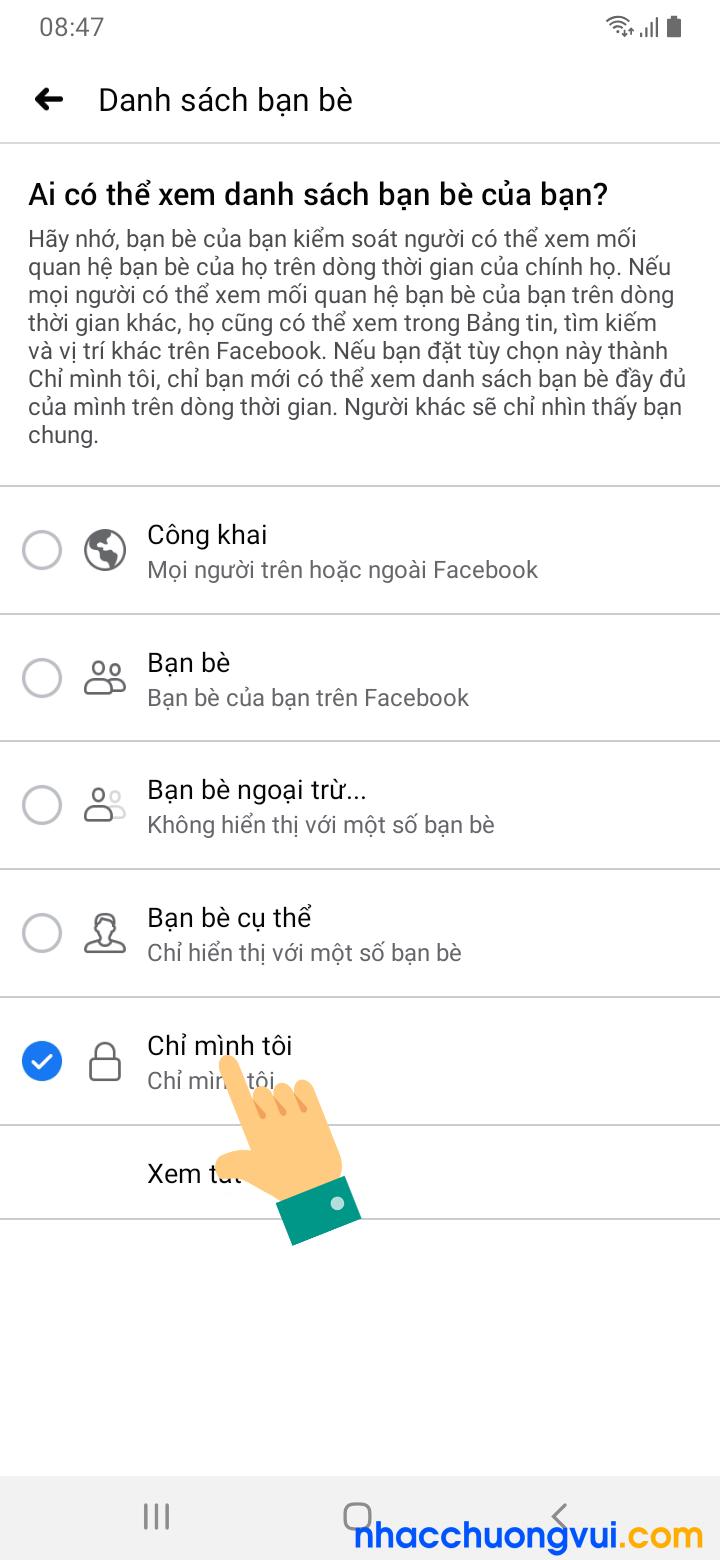 Cách ẩn danh sách bạn bè Facebook trên điện thoại Android Samsung Oppo 6