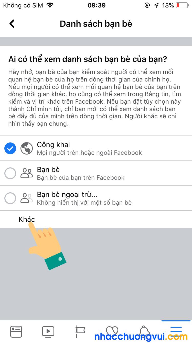 Cách ẩn bạn bè trên Facebook bằng điện thoại iPhone 5