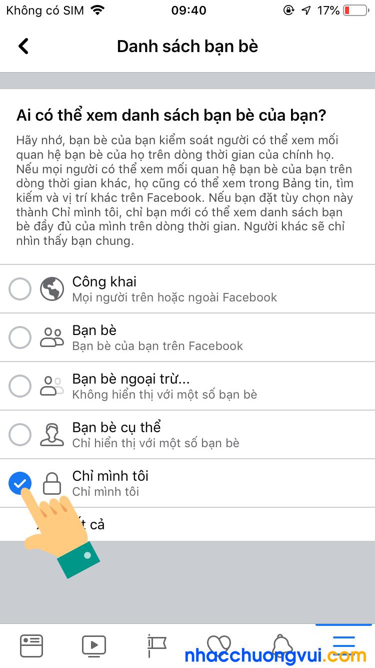 Cách ẩn bạn bè trên Facebook bằng điện thoại iPhone 6