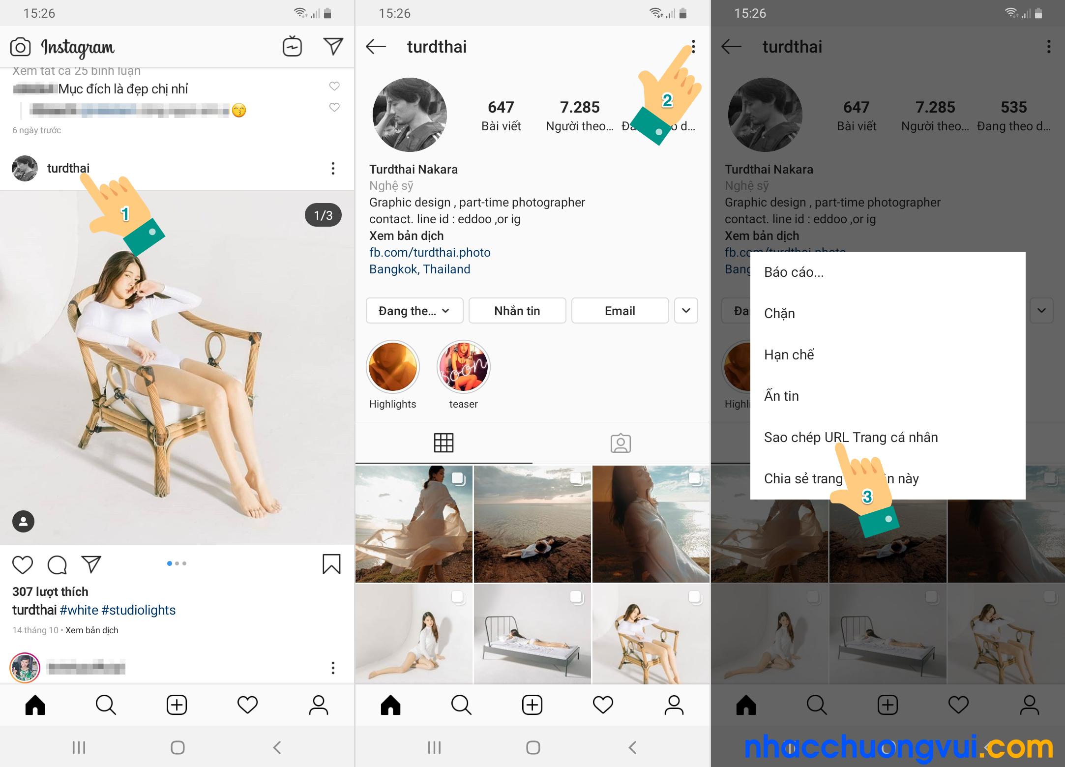 Cách lấy link instagram của người khác