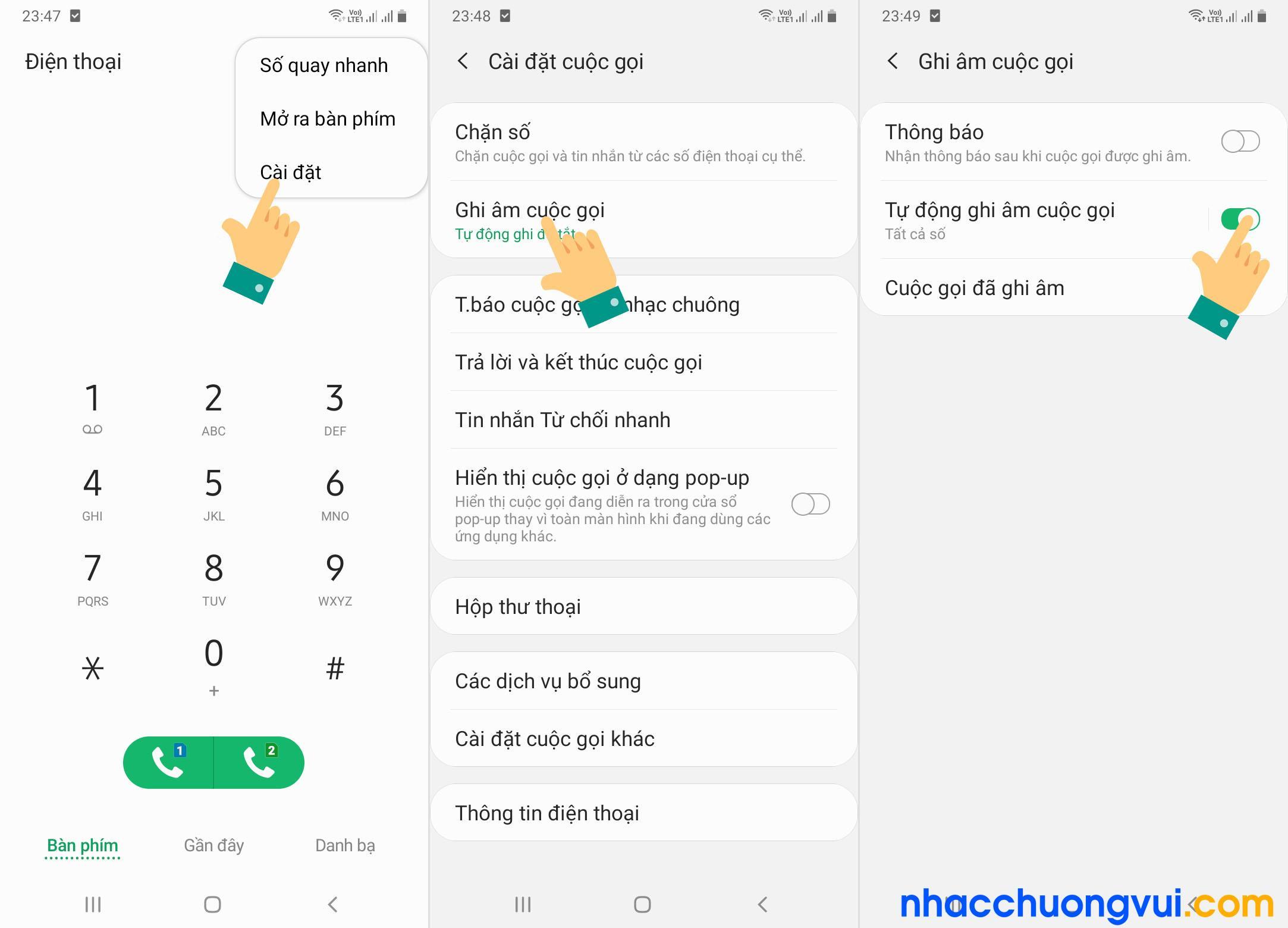 Cách tự động ghi âm cuộc gọi Samsung