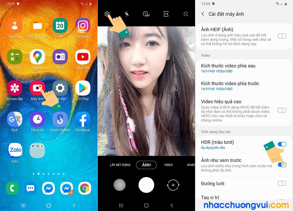 Cách chỉnh camera trước bị ngược lệch mặt trên Samsung