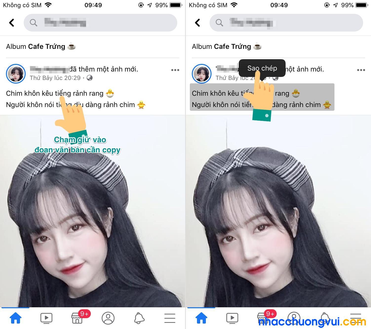 Cách copy bài viết trên Facebook bằng điện thoại iPhone