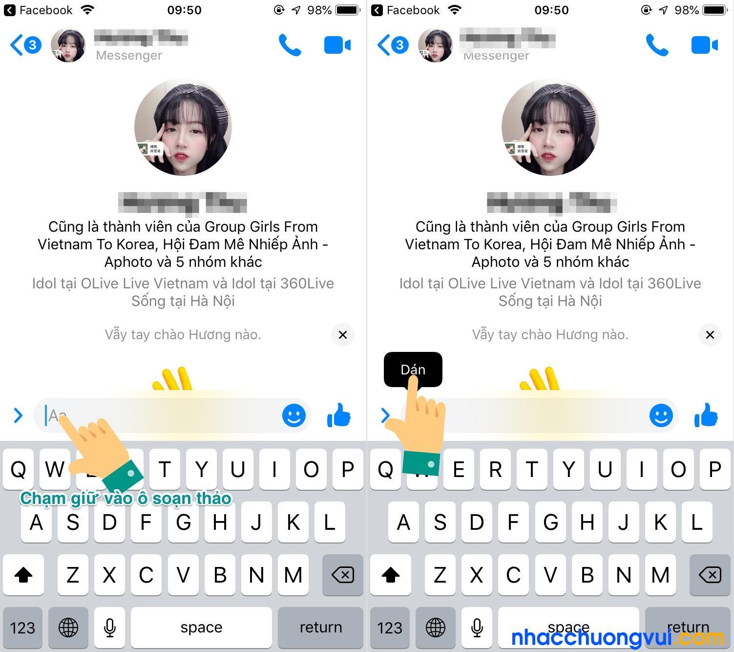 Cách dán bài viết đã copy trên Facebook để gửi đi bằng điện thoại