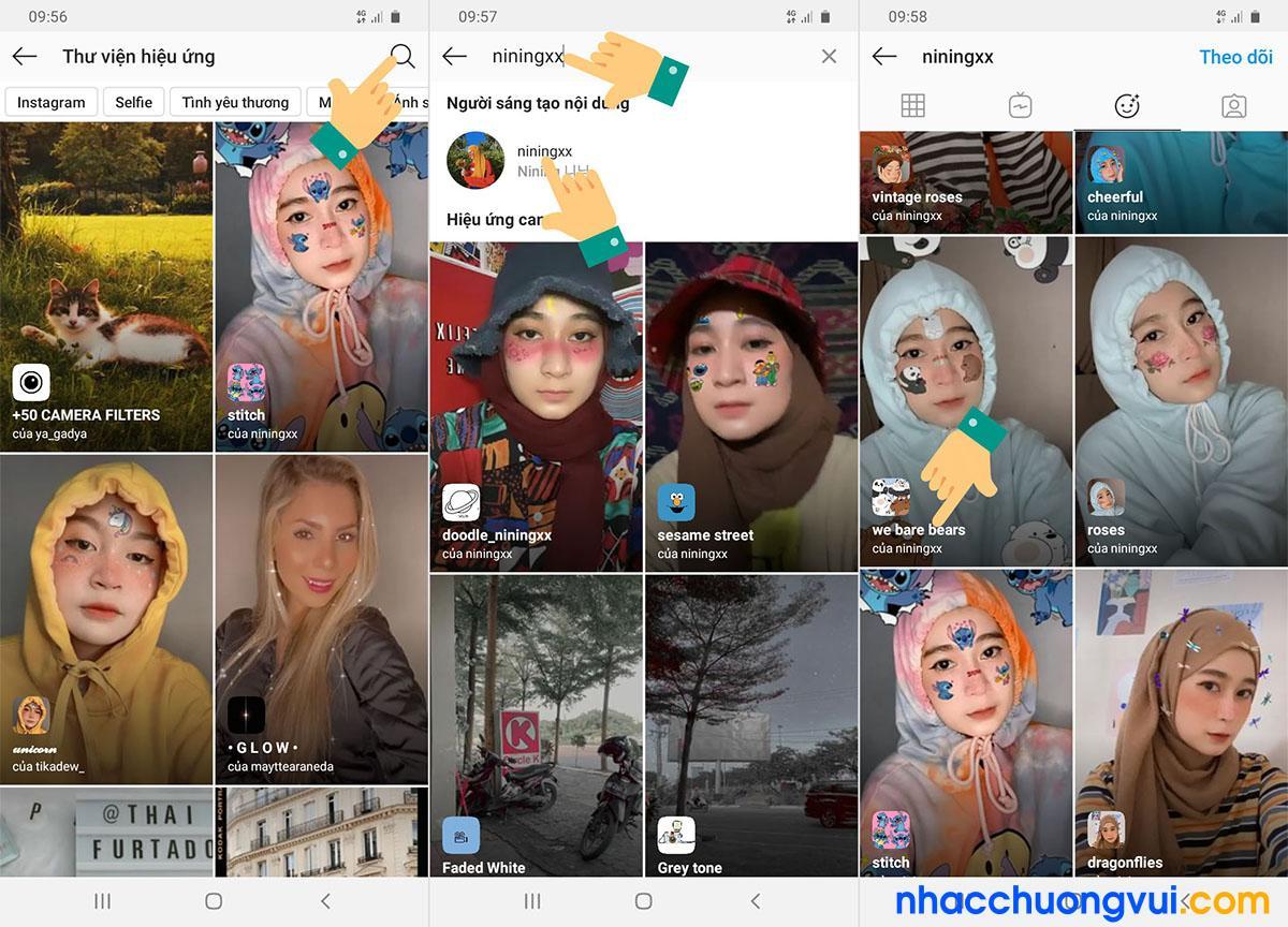 Cách làm hiệu ứng sticker 3 con gấu trên instagram TikTok bước 4 5 6