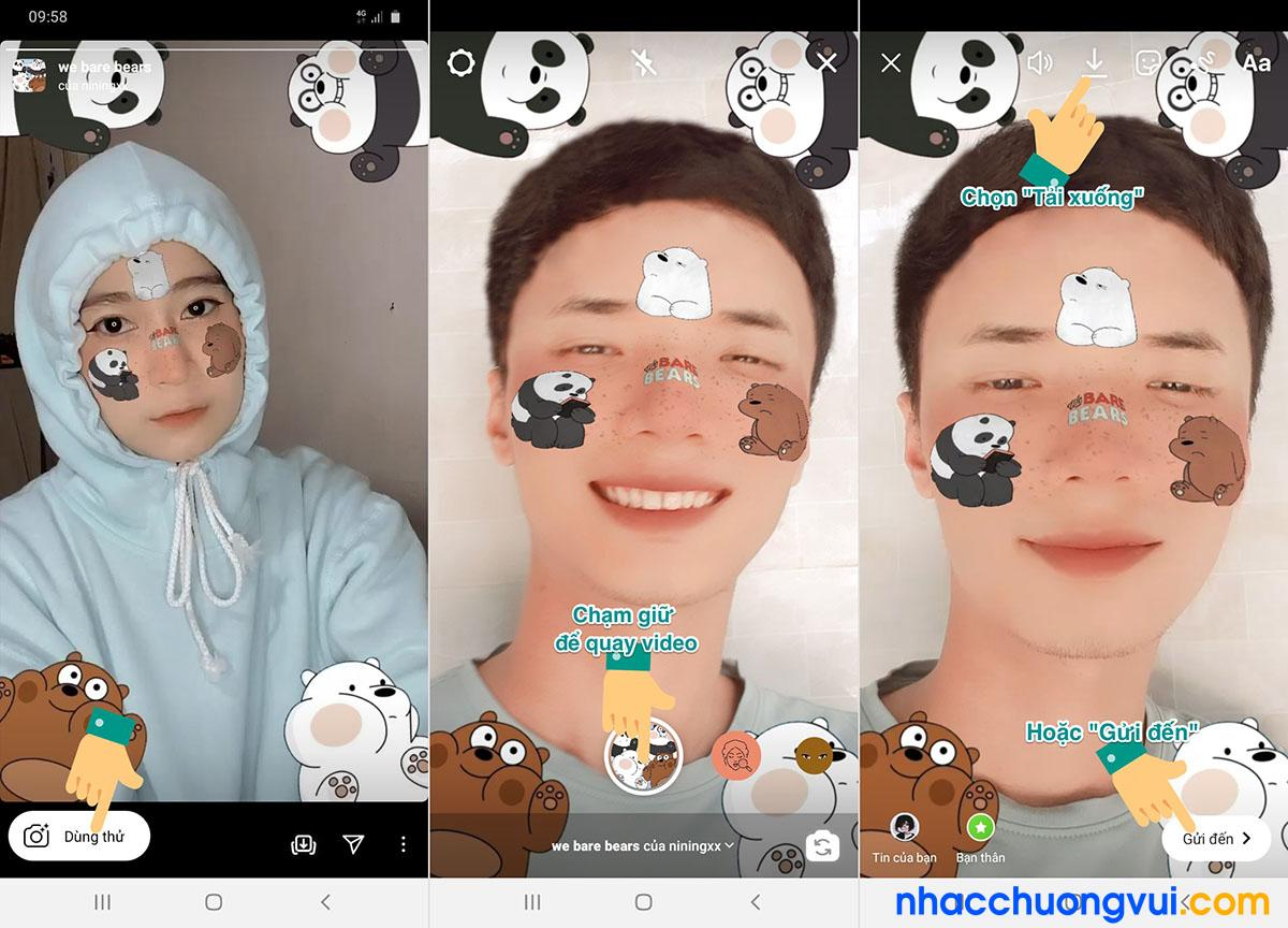 Cách làm hiệu ứng sticker 3 con gấu trên instagram TikTok bước 7 8 9