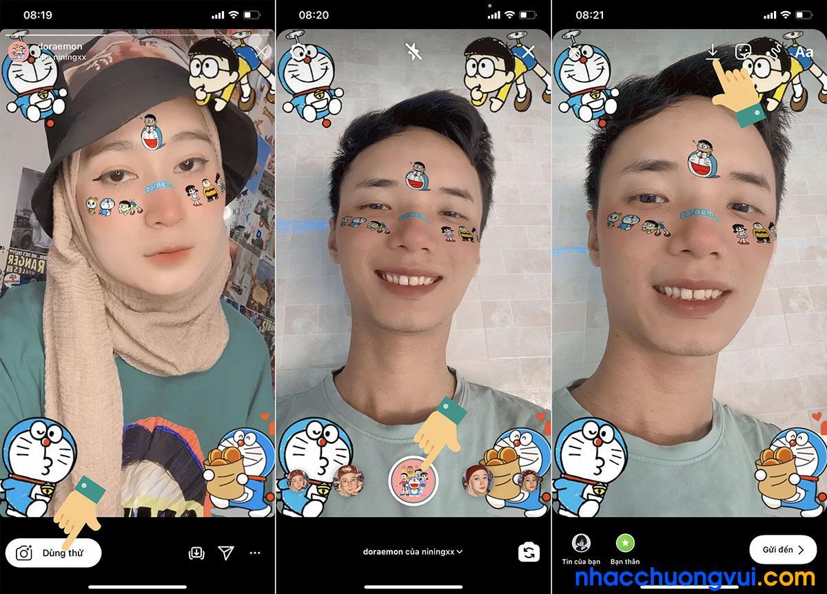Cách lấy sticker Doraemon trên nền nhạc TikTok Bước 7 8