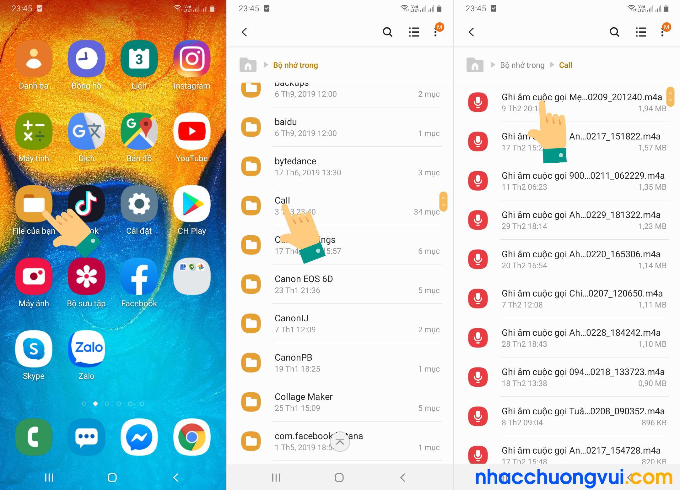 Cách mở file ghi âm cuộc gọi Samsung