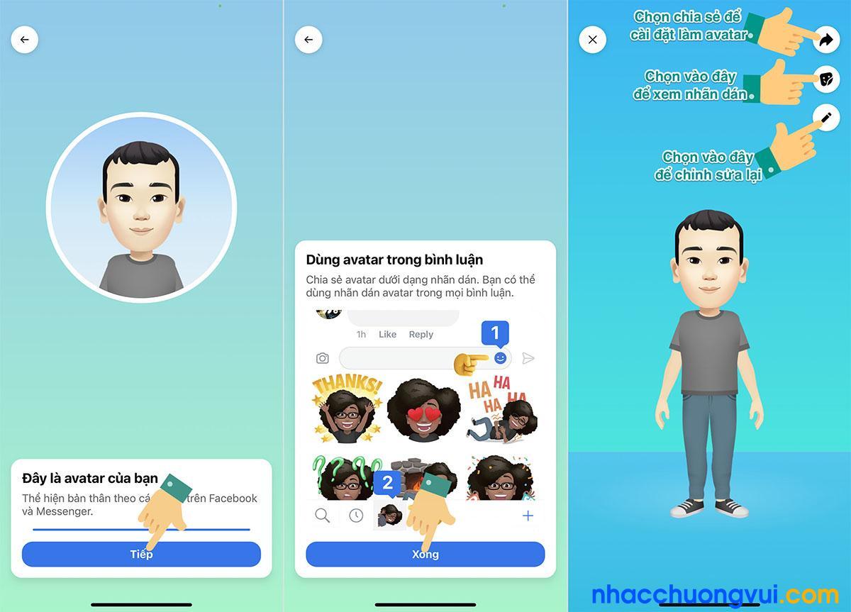Cách tạo avatar sticker hoạt hình trên Facebook giống mình 3