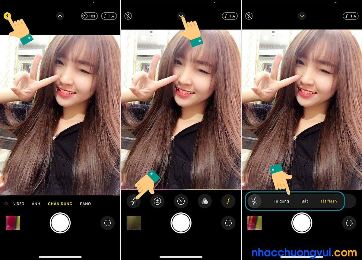 Cách tắt bật đèn flash camera trước của iPhone